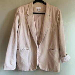 Kenar Neutral Tan Linen Blazer Roll-Up Sleeves